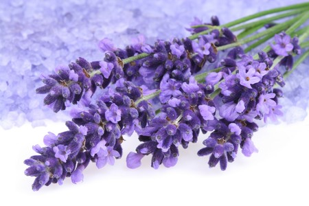 Bunch of lavender and  bath salt - beauty treatment photo