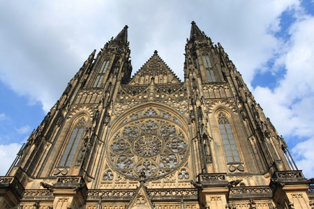 vitus: Famous St. Vitus cathedral in Hradcany district of Prague, Czech Republic
