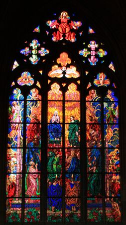 whitsunday: Pentecost (also called Whitsunday) depicted in St. Vitus Cathedral in Prague, Czech Republic
