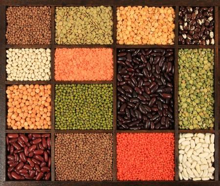 렌즈 콩: 요리의 선택. 요리 재료. 콩, 완두콩, 렌즈 콩. 스톡 사진