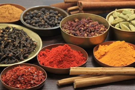 Spices and herbs in metal  bowls. Food and cuisine ingredients. Colorful natural additives. Stock Photo - 7948829