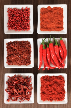 seasoning: Spices in white ceramic bowls. Food and cuisine ingredients. Colorful natural additives.