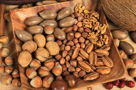 Assorted nuts in wooden bowl. Stock Photo - 8333505