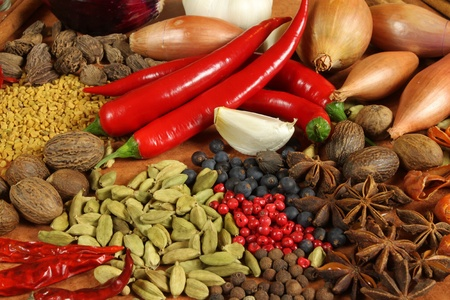 Herbs and spices selection. Aromatic ingredients and natural food additives. Cuisine elements. photo
