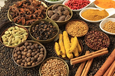 Cuisine ingredients - herbs and spices. Food background.