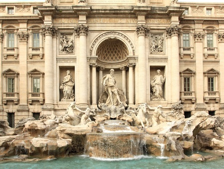 Trevi Fountain - famous landmark in Rome (Italy).  Stock Photo