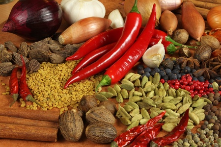additives: Herbs and spices selection. Aromatic ingredients and natural food additives. Cuisine elements.