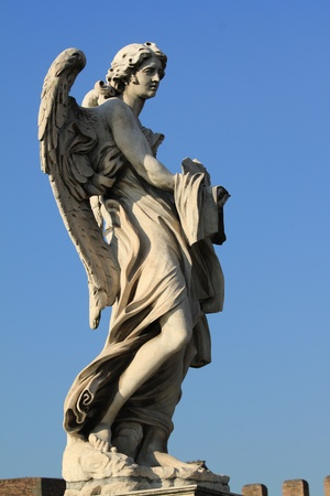 sant: Ponte Sant Angelo bridge. Baroque angel sculpture by Paolo Naldini. Italy - Rome.