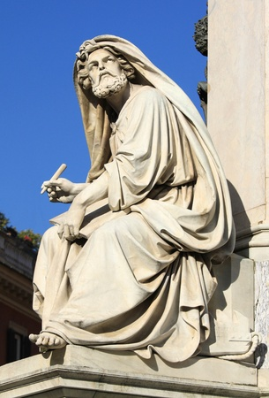 di: Prophet Isaiah (Isaias) statue in Rome, Italy. Famous Spanish Square (Piazza di Spagna). Stock Photo