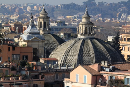 Cityscape of Rome, Italy. Skyline of Italian capital city. Stock Photo