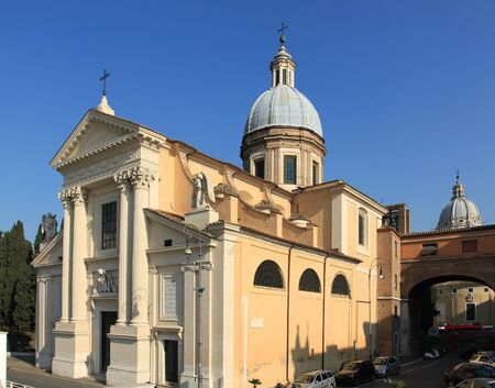 cavour: Rome, Italy - Saint Roch (San Rocco) church seen from Ponte Cavour