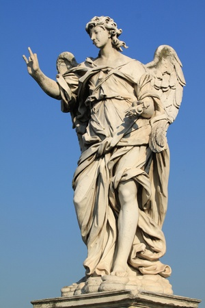 sant: Famous Ponte Sant Angelo bridge. Baroque angel sculpture by Ercole Ferrata. Italy - Rome.