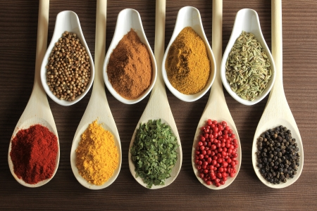spoon yellow: Herbs and spices in wooden spoons - beautiful kitchen image.