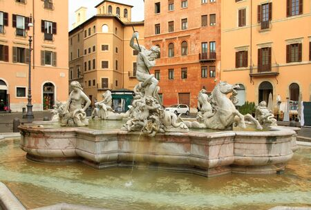 rome italy: Piazza Navona in Rome, Italy. Famous fountain.