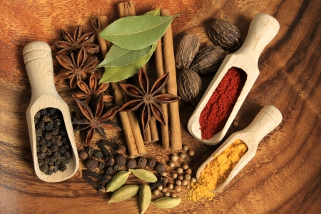 Cooking ingredients - warm colours of herbs and spices. photo