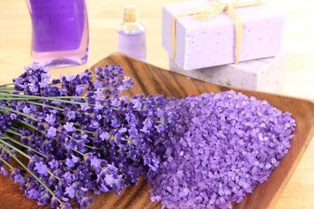 Relaxing spa resort composition - bath soap, crystal salt, lavender flower Stock Photo - 9958864