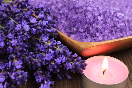 Spa resort and wellness composition - lavender flowers, coloured bathing salt