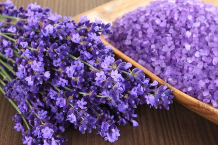 lavender coloured: Spa resort and wellness composition - lavender flowers, coloured bathing salt