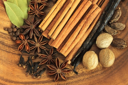 Christmas spices. Cooking ingredients: cinnamon sticks, clove and star anise. photo