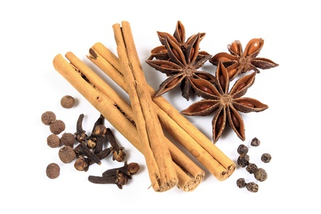 spice isolated: Herbs and spices - aniseed, cinnamon and other ingredients