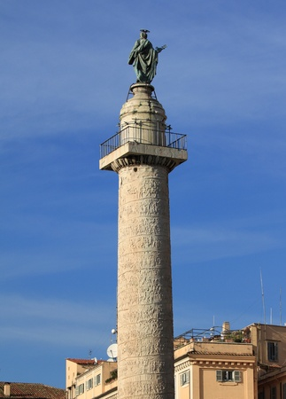 Rome, Italy - famous Trajans Column. Old monument. photo