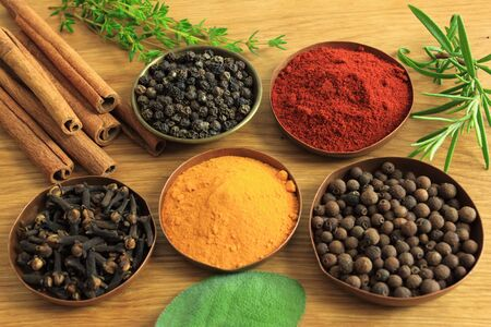food additives: Cuisine ingredients - herbs and spices. Food background.