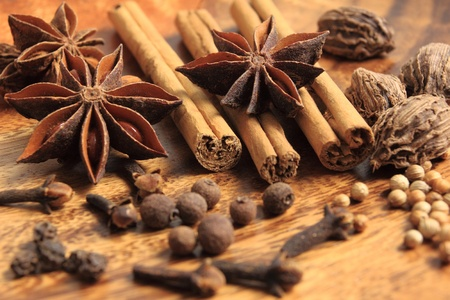 Christmas spices. Cooking ingredients: cinnamon sticks, allspice, clove and star anise.