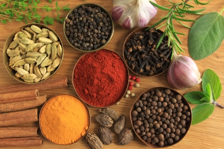 Spices and herbs in metal  bowls  Stock Photo - 10518997