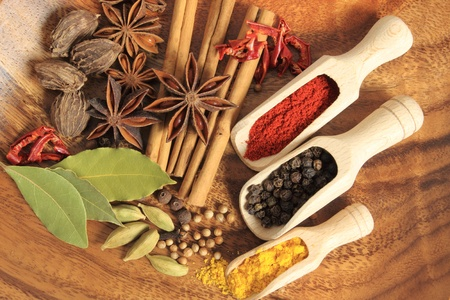 Aromatic spices. Cooking ingredients: allspice, cardamom, cinnamon sticks, clove and star anise. photo