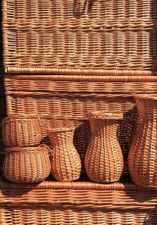 Outdoor market stall with wicker baskets. Handicraft in Poland. photo
