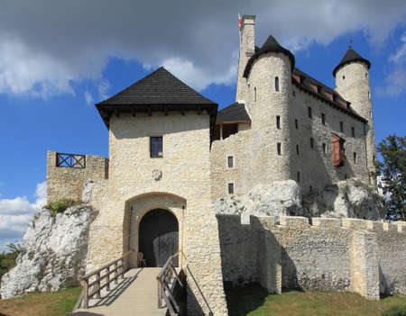 limestone: Bobolice castle - old fortress in Poland. Landmark in Europe. Editorial