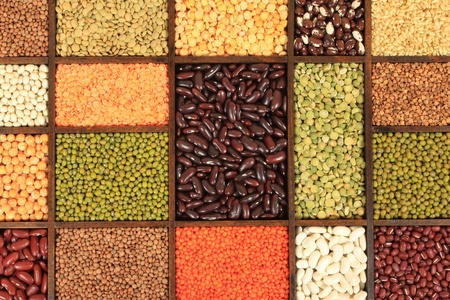 Cuisine choice. Cooking ingredients. Beans, peas, lentils. Stock Photo