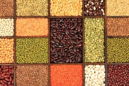 ingredients: Cuisine choice. Cooking ingredients. Beans, peas, lentils. Stock Photo