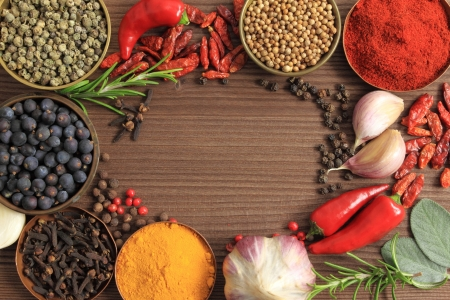 spice: Spices and herbs in metal  bowls. Food and cuisine ingredients. Colorful natural additives.