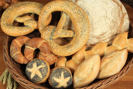 bread rolls: Varieties of bread in Europe. European bakery food products. Stock Photo