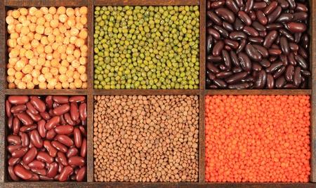 Granos y cereales - cajas de colores de frijoles. Resumen de los alimentos decorativos. Foto de archivo - 11041884