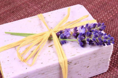 herbs of provence: Close up on hand made lavender soap and flowers