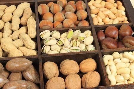 pecans: Varieties of nuts: peanuts, hazelnuts, chestnuts, walnuts, cashews, pistachio and pecans. Food and cuisine.