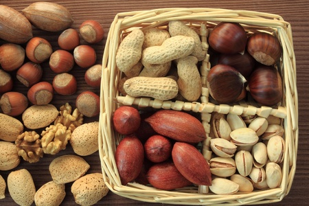 Varieties of nuts: peanuts, hazelnuts, chestnuts, walnuts,  pistachio and pecans. Food and cuisine. Stock Photo - 11297709