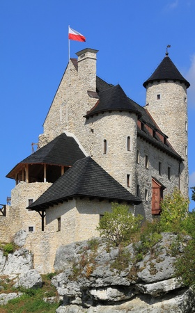 Bobolice castle - old fortress in Poland. Landmark in Europe. photo