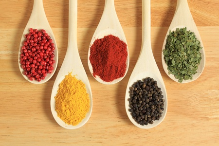 Spices in wooden spoons. photo