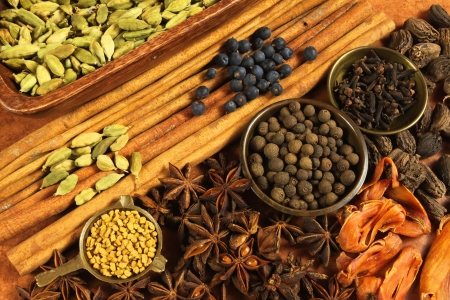 mace: Cooking ingredients - warm colours of herbs and spices.