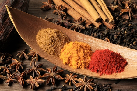 cinammon: Cooking ingredients - warm colours of herbs and spices. Turmeric and cayenne pepper powder, plus aniseed, clove and cinammon sticks.