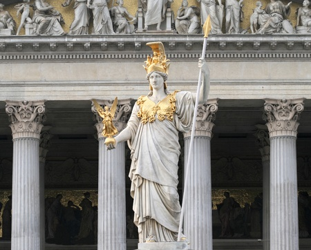 pallas: Famous statue of Pallas Athena in front of the Austrian Parliament in Vienna  Stock Photo