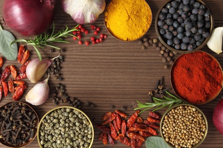 additives: Various spices selection. Food ingredients and aromatic additives.