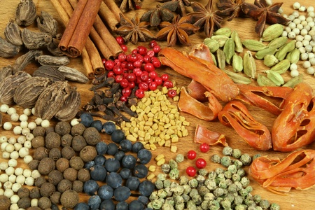 food additives: Herbs and spices selection. Aromatic ingredients and natural food additives. Cuisine elements.