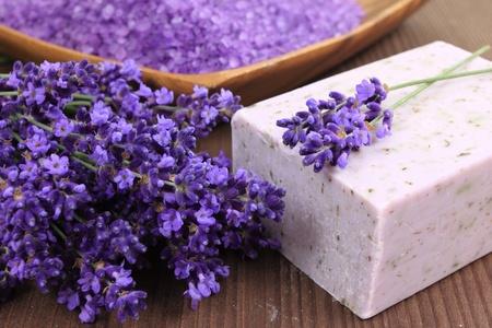 Lavender soap and salt with lavender flower. photo