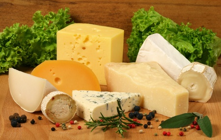 Variety of cheese: ementaler, gouda, Danish blue soft cheese and other hard cheeses. Herbs and spices.