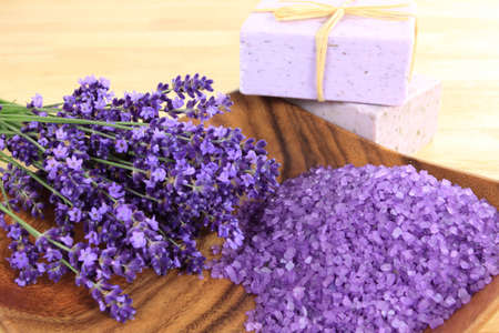 Spa and wellness resort. Lavender soap and salt with lavender flower. photo