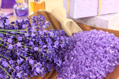 Lavender soap and salt with lavender flower. photo